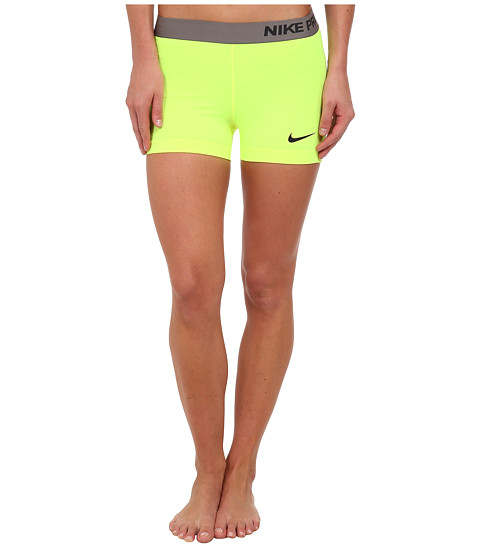 Nike - Pro Three-Inch Short (Volt/Dark Ash) Women