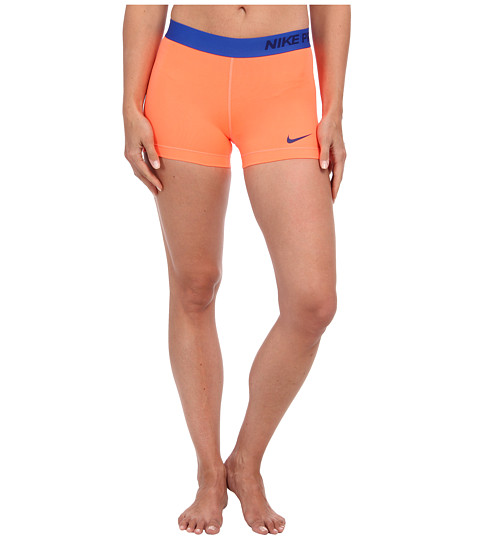 Nike - Pro Three-Inch Short (Bright Mango/Deep Royal Blue) Women
