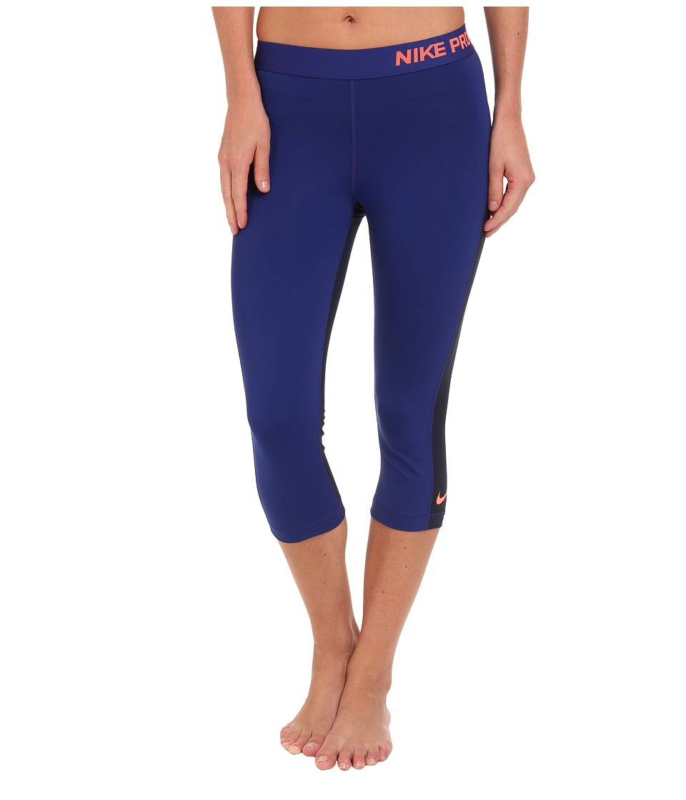 Nike - Pro Capri (Deep Royal Blue/Obsidian/Bright Mango) Women's Capri