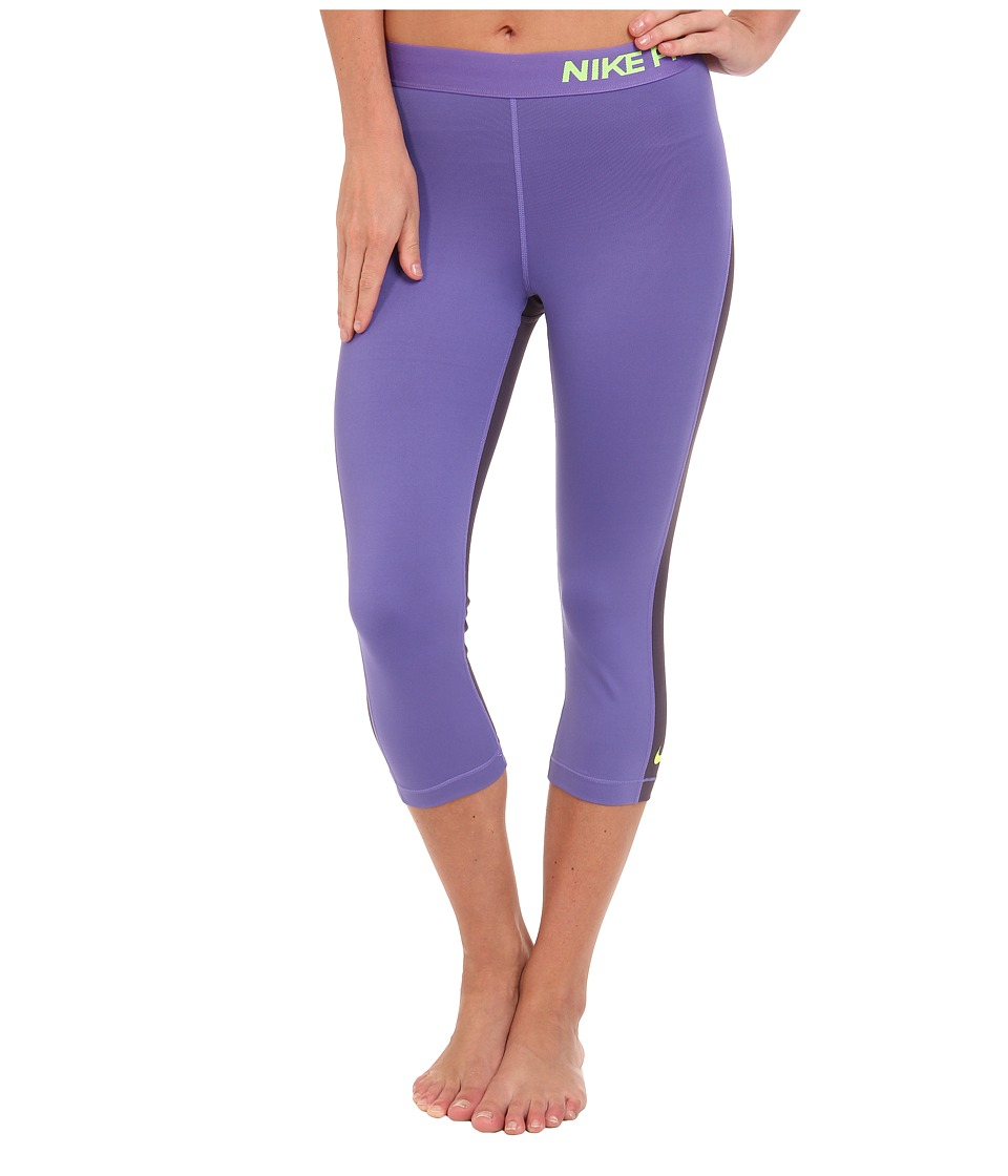 Nike - Pro Capri (Purple Haze/Dark Raisin/Volt) Women