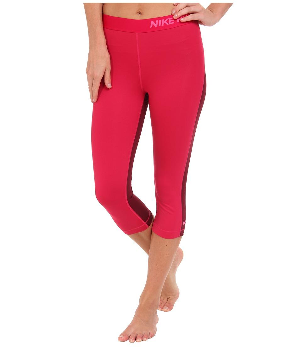 Nike - Pro Capri (Fuchsia Force/Deep Garnet/Hyper Pink) Women's Capri