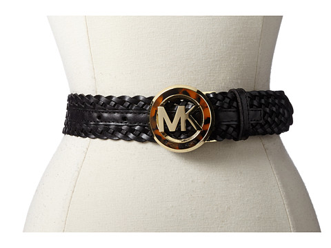 MICHAEL Michael Kors - 38MM Braided Belt w/ MK Buckle (Black) Women's Belts