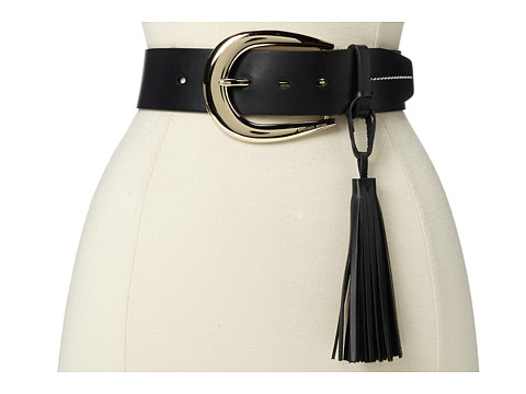 MICHAEL Michael Kors - 45MM Veg Belt w/ Tassel (Black) Women's Belts