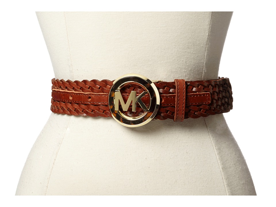 MICHAEL Michael Kors - 38MM Braided Belt w/ MK Buckle (Luggage) Women's Belts