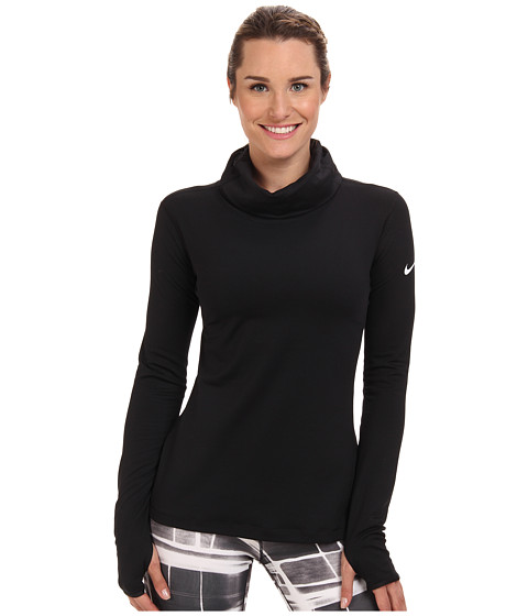 Nike - Pro Hyperwarm Infinity (Black/Black/White Multi Snake) Women's Long Sleeve Pullover