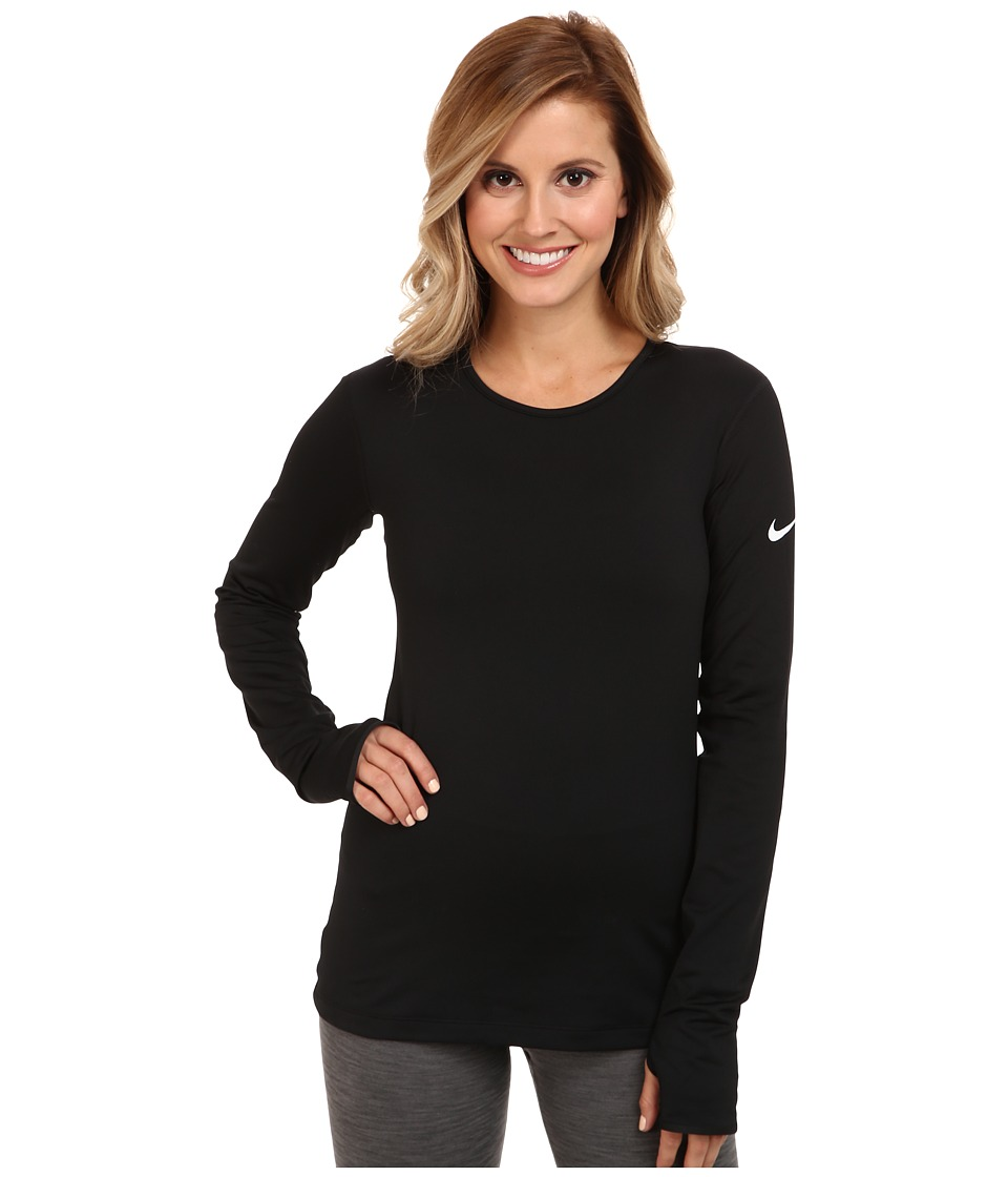 Nike - Pro Hyperwarm Crew 3.0 (Black/Black/White) Women's Long Sleeve Pullover