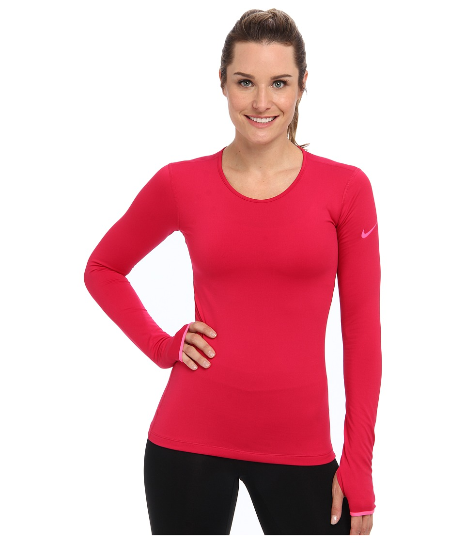 Nike - Pro Hyperwarm Crew 3.0 (Fuchsia Force/Hyper Pink/Hyper Pink) Women's Long Sleeve Pullover