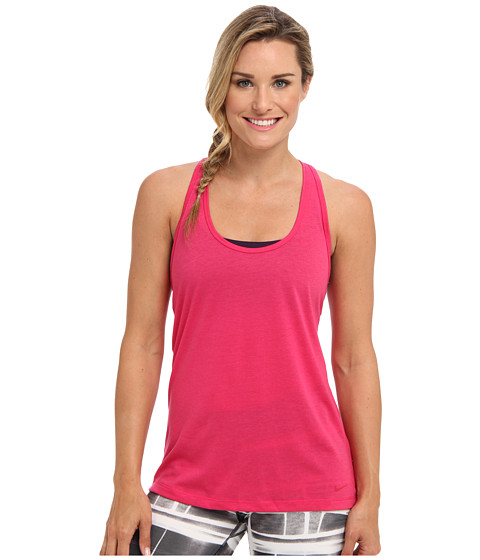 Nike - Flow Tank (Fuchsia Force Heather/Fuchsia Force) Women