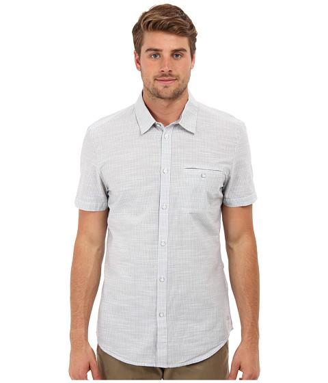 Calvin Klein Jeans - S/S Heathered Slub Stripe Shirt (Chrome/Terra) Men's Short Sleeve Button Up