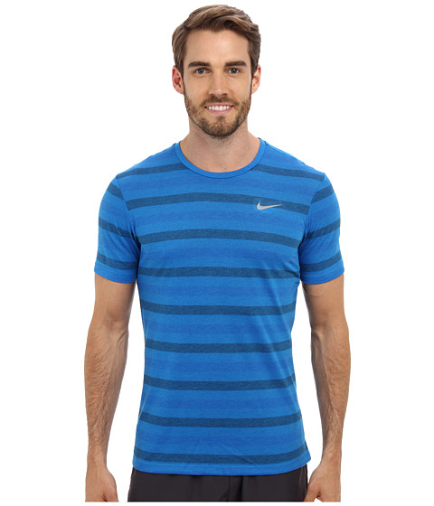 Nike - Dri-Fit Touch Tailwind S/S Striped (Photo Blue/Midnight Navy/Reflective Silver) Men's T Shirt
