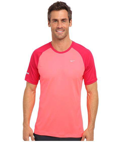 Nike - Miler S/S UV Shirt (Team) (Hyper Punch/Fuchsia Force/Reflective Silver) Men's Short Sleeve Pullover
