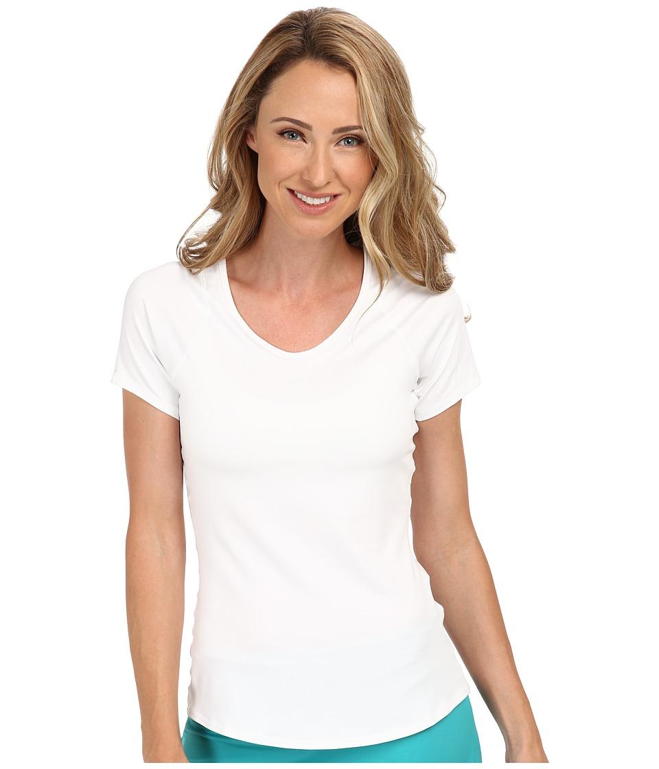Nike - Advantage Court Top (White/White/Black) Women's Short Sleeve Pullover