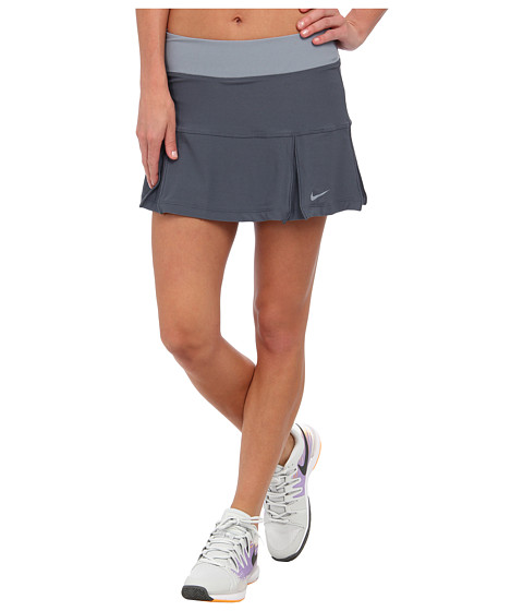 Nike - Four Pleated Knit Skort (Dark Magnet Grey/Magnet Grey/Magnet Grey) Women's Skort