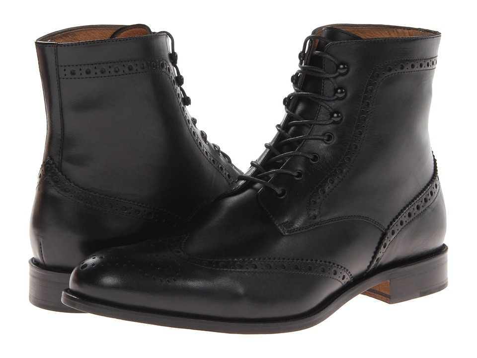 Massimo Matteo - 7-Eye Wing Boot (Black) Men's Shoes