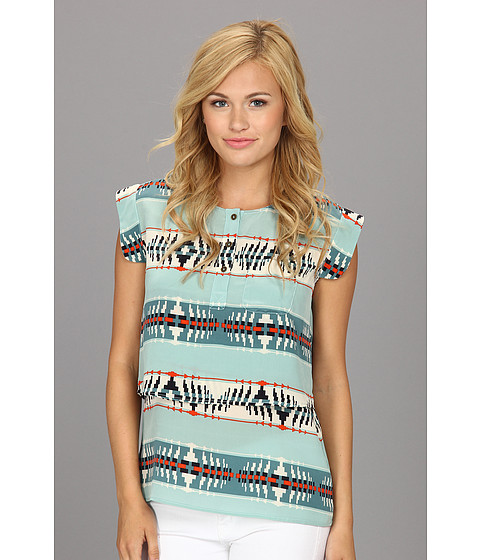The Portland Collection by Pendleton - Olallie Top (Aqua God's Eye Silk) Women's Short Sleeve Pullover
