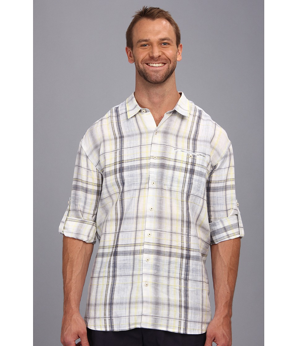 Tommy Bahama Big & Tall - Big Tall Space Time Plaid L/S Button Up Shirt (White) Men