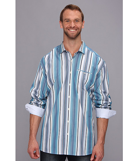 Tommy Bahama Big & Tall - Big Tall Mo' Raj Stripe L/S Shirt (Navy) Men's Long Sleeve Button Up