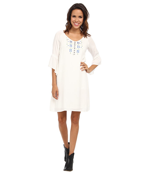 Cruel - V-Neck Shift Solid Rayo Dress (White) Women