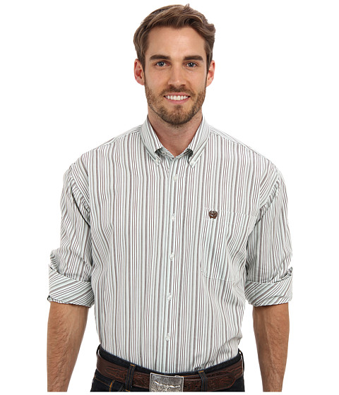 Cinch - T.103 L/S Plain Weave Stripe (White 2) Men's Long Sleeve Button Up
