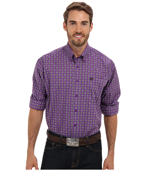 Cinch - T.103 L/S Plain Weave Print B (Purple) Men's Long Sleeve Button Up
