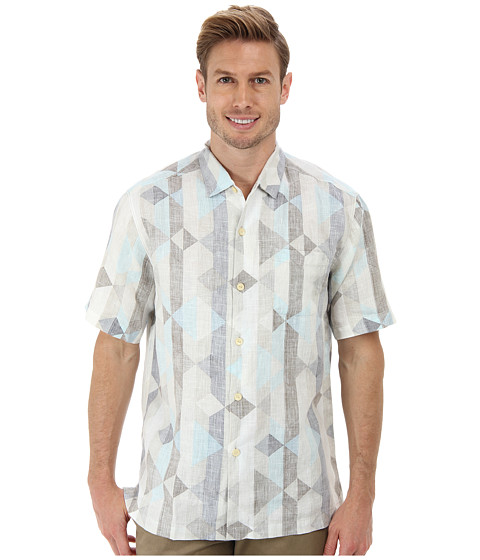 Tommy Bahama - Linen The Diamond Life S/S Camp Shirt (Continental) Men's Short Sleeve Button Up