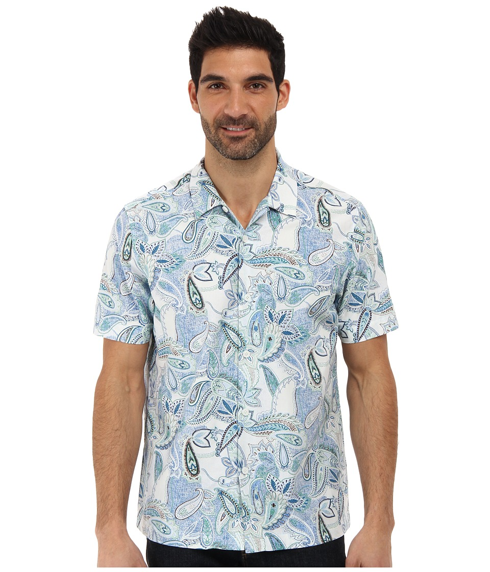 Tommy Bahama - Island Modern Fit Paisley Beach S/S Camp Shirt (Navy) Men