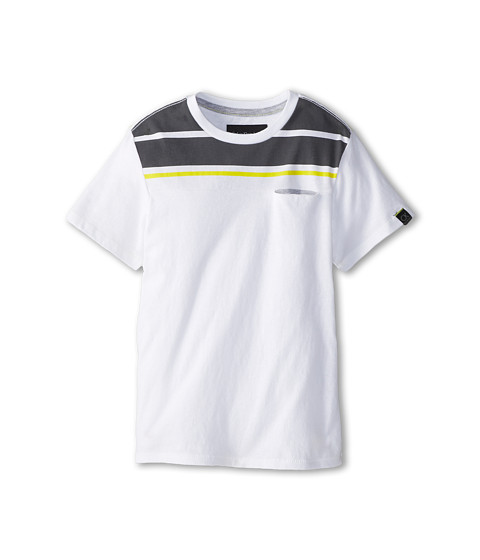 Calvin Klein Kids - S/S Spliced Contrast Printed Stripe Pocket Knit Shirt (Little Kids) (White) Boy's Short Sleeve Pullover