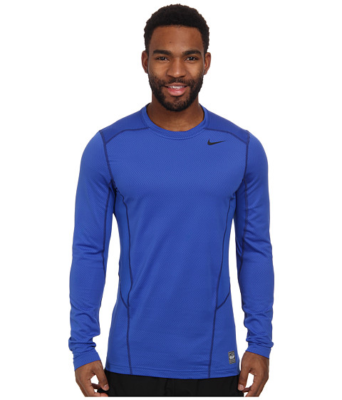 Nike - Hyperwarm Lite Fitted L/S Crew (Game Royal/Black/Black) Men's Long Sleeve Pullover