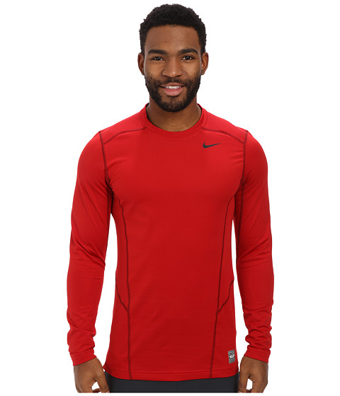 Nike - Hyperwarm Lite Fitted L/S Crew (Gym Red/Black/Black) Men's Long Sleeve Pullover
