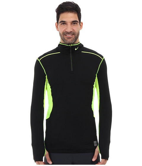 Nike - Hyperwarm Dri-Fit Max Quarter-Zip Hoodie (Black/Volt/Volt) Men