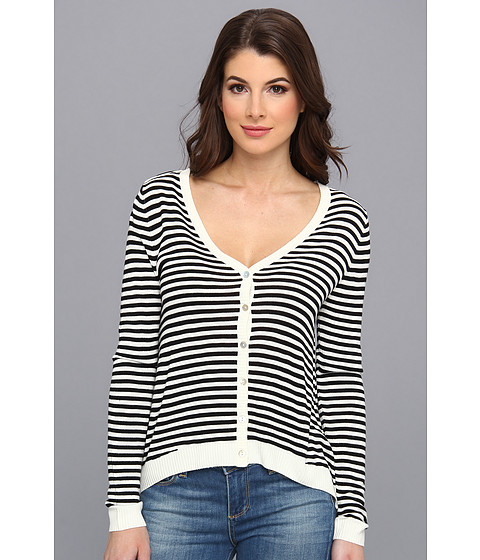 LAmade - Stripe Shoulder Tab Cardigan (Cream/Black) Women's Sweater