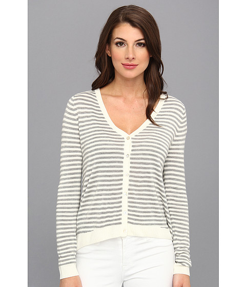 LAmade - Stripe Shoulder Tab Cardigan (Cream Heather Grey) Women