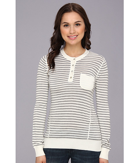 LAmade - Stripe L/S Henley w/ Contrast Pocket (Cream/Heather Grey) Women's Sweater