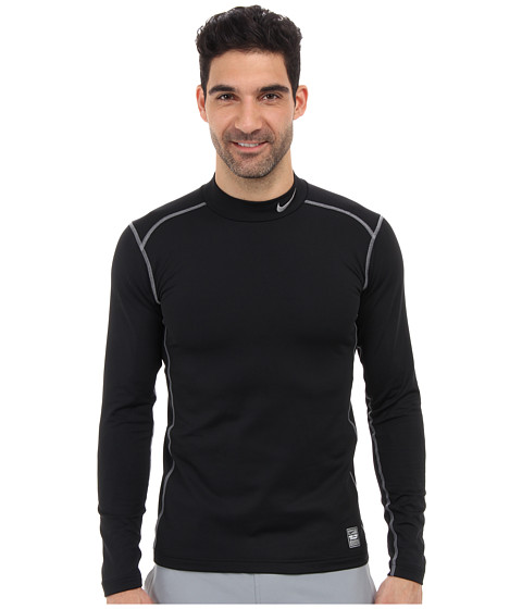 Nike - Hyperwarm Dri-Fit Fitted Mock 2.0 (Black/Cool Grey/Cool Grey) Men's Long Sleeve Pullover