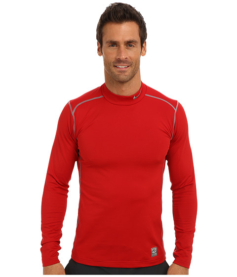 Nike - Hyperwarm Dri-Fit Fitted Mock 2.0 (Gym Red/Cool Grey/Cool Grey) Men's Long Sleeve Pullover