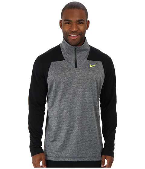 Nike - Dri-Fit Sphere Half-Zip Shirt (Dark Grey Heather/Black/Volt) Men's Long Sleeve Pullover