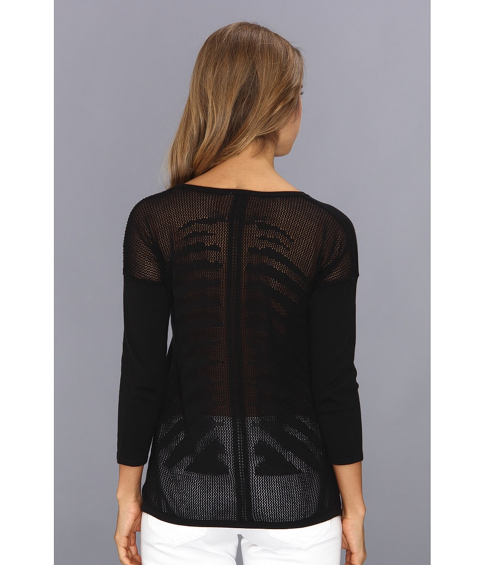 Autumn Cashmere - Mesh Skeleton Back Top (Black) Women's Sweater