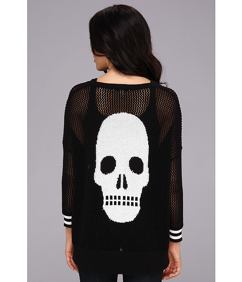 Autumn Cashmere - Skull Mesh High-Low Sweater (Black/Bleach White) Women's Sweater