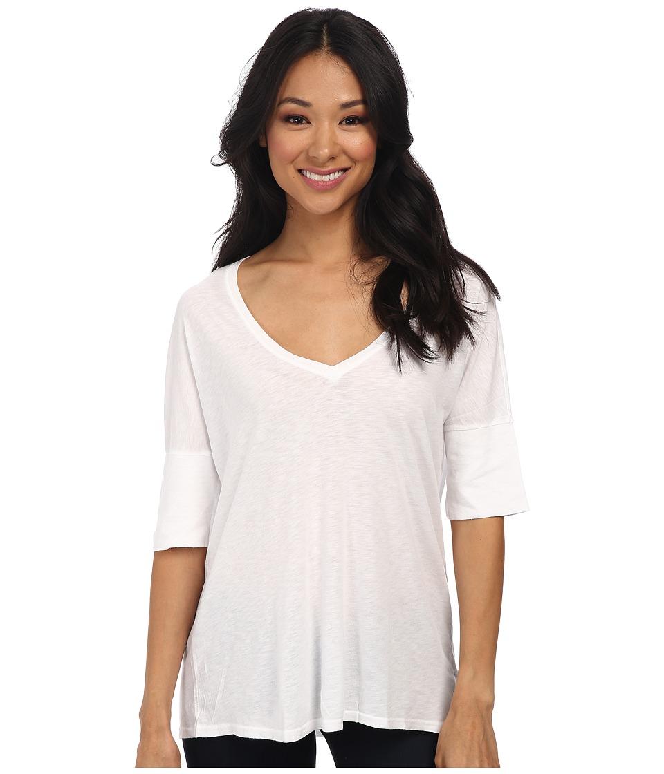 Michael Stars - Slub Elbow Roll Sleeve Vee Neck (White) Women's Short Sleeve Pullover