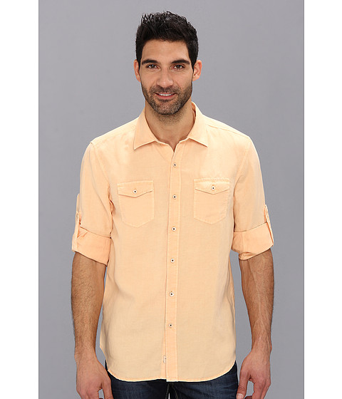 Tommy Bahama Denim - Island Modern Fit Sand Linen L/S Shirt (White Peach) Men