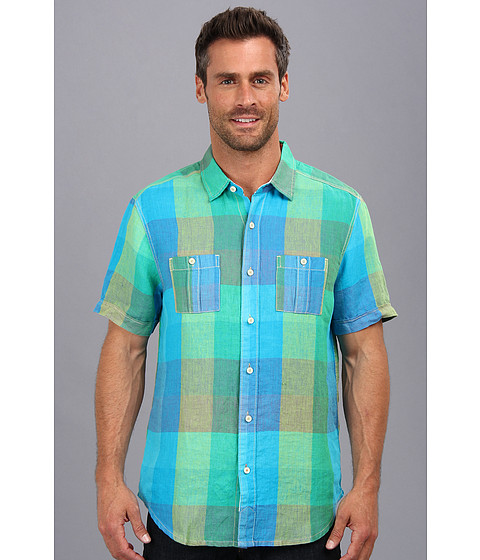 Tommy Bahama - Island Modern Fit City Cruiser S/S Camp Shirt (Aqua Blue) Men's Short Sleeve Button Up