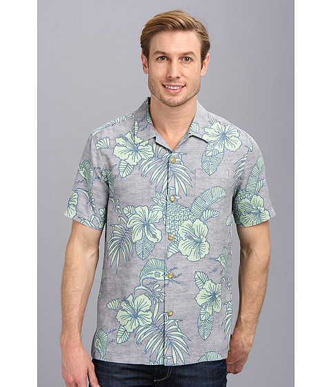 Tommy Bahama - Island Modern Fit Bob Marlin S/S Camp Shirt (Light Grey) Men