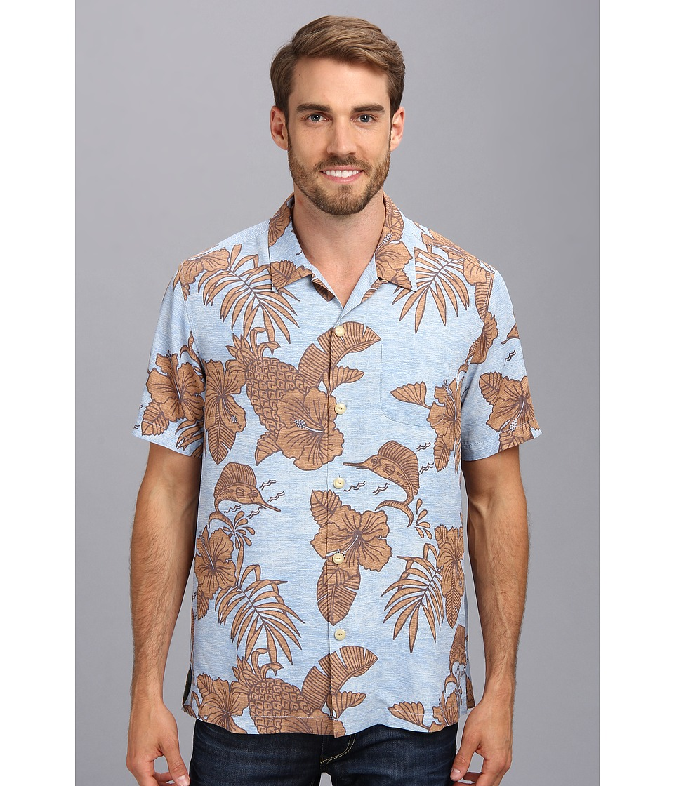 Tommy Bahama - Island Modern Fit Bob Marlin S/S Camp Shirt (Light Sky) Men's Short Sleeve Button Up