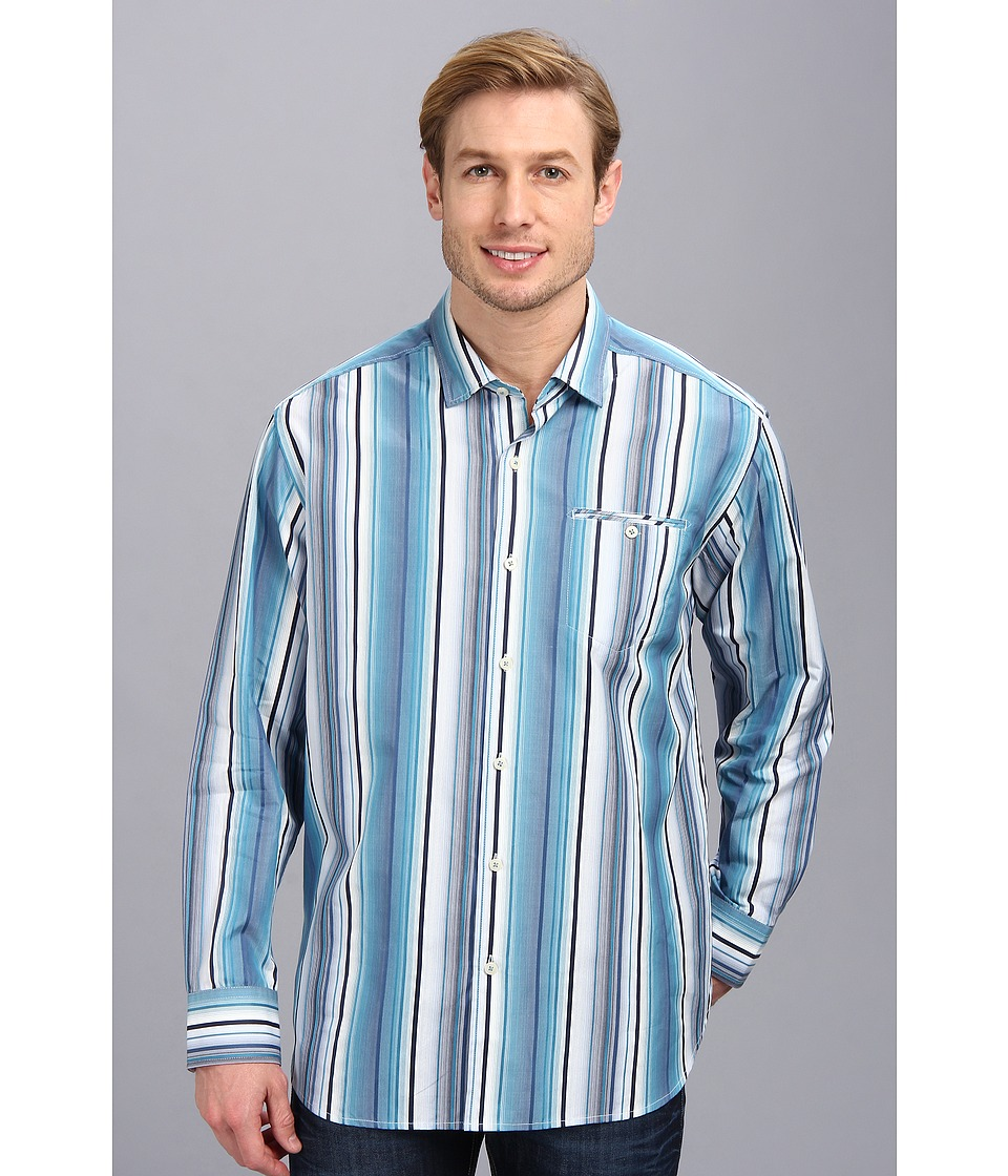 Tommy Bahama - Mo' Raj Stripe L/S Shirt (Navy) Men's Long Sleeve Button Up