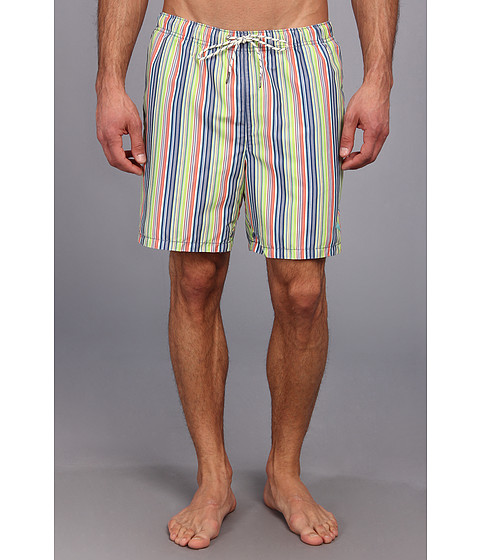 Tommy Bahama - Awning Stripe 6 Reversible Swim Trunks (Dockside Blue) Men