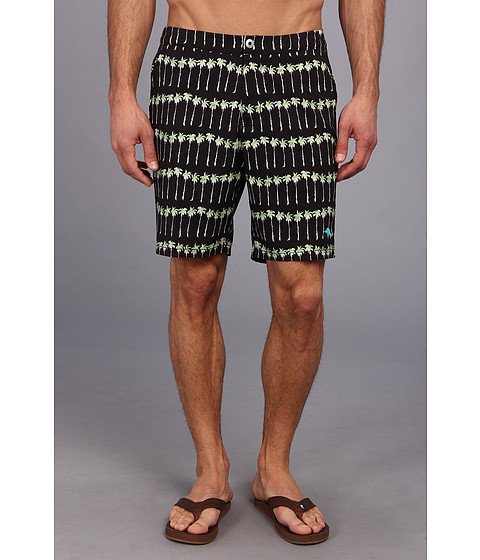 Tommy Bahama - The Saint Tropez Palm Ave 7.5 Swim Trunks (Coal) Men's Swimwear