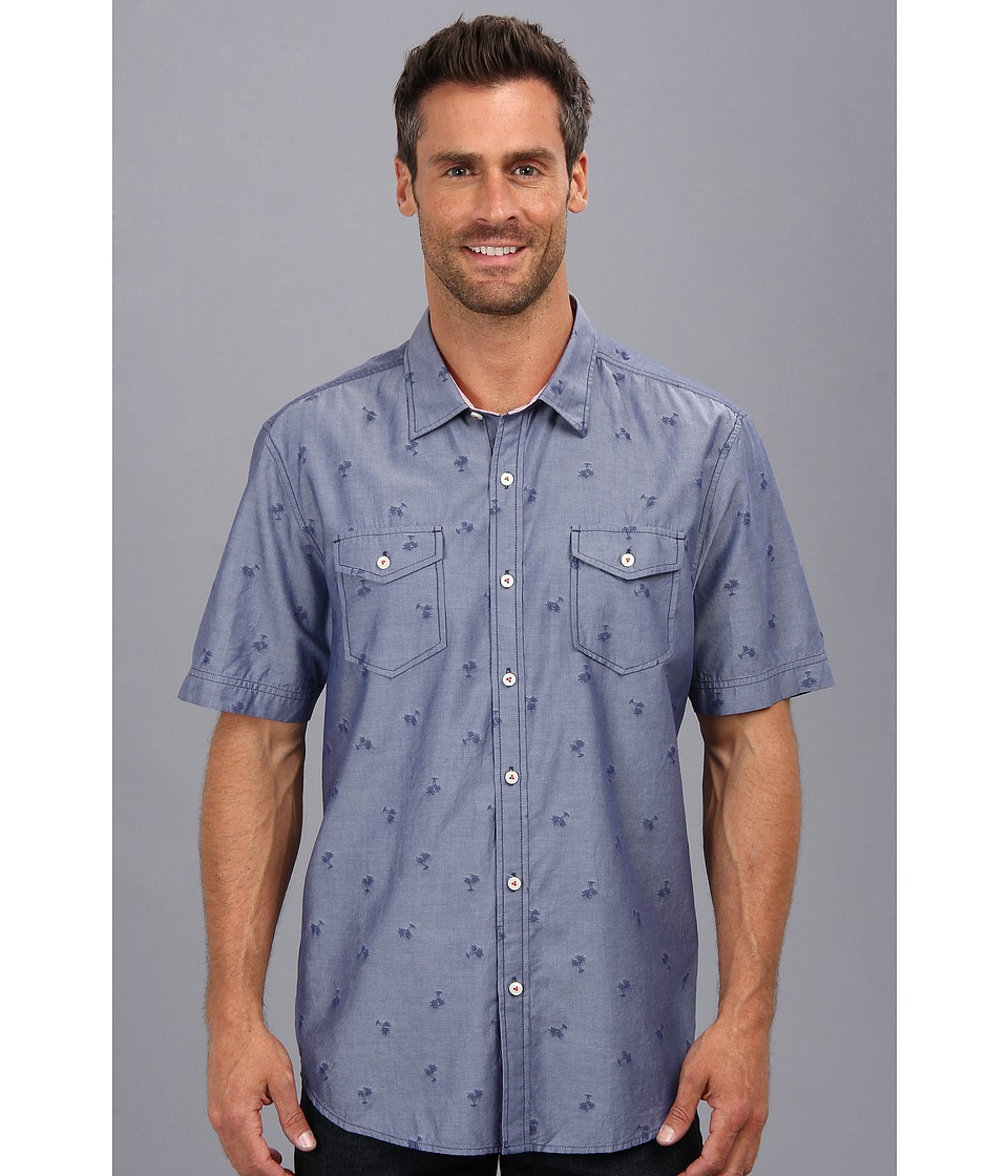 Tommy Bahama - Island Modern Fit Keep Palm Jacquard S/S Shirt (Charter) Men's Short Sleeve Button Up