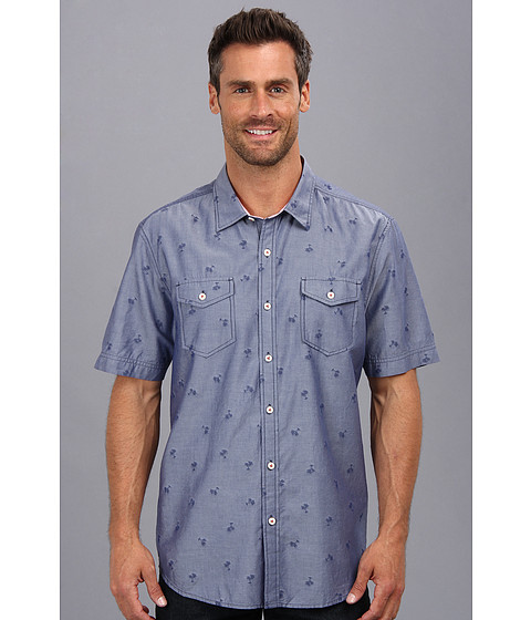 Tommy Bahama Denim - Island Modern Fit Keep Palm Jacquard S/S Shirt (Charter) Men