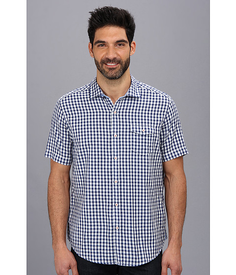 Tommy Bahama Denim - Island Modern Fit I Be Weave Check S/S Shirt (New Blue) Men