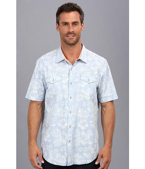 Tommy Bahama Denim - Island Modern Fit North Beach Print S/S Shirt (Bluegrass) Men